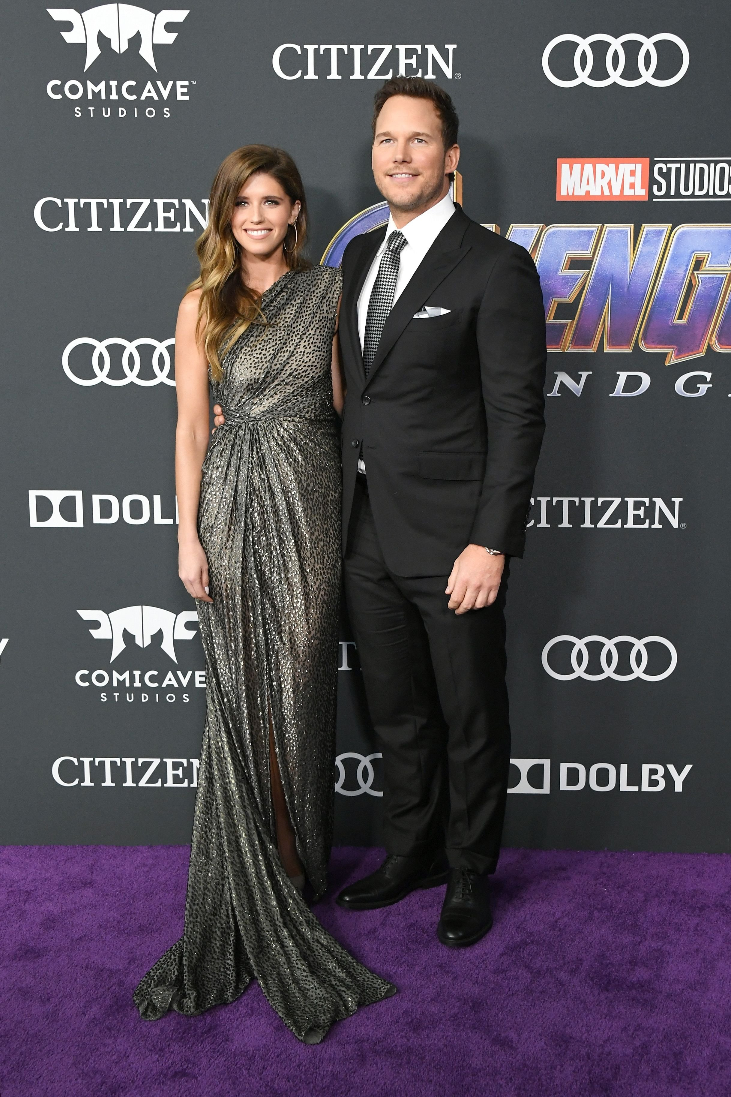 """Katherine Schwarzenegger and Chris Pratt at the world premiere of """"Avengers: Endgame"""" at the Los Angeles Convention Center on April 22, 2019 