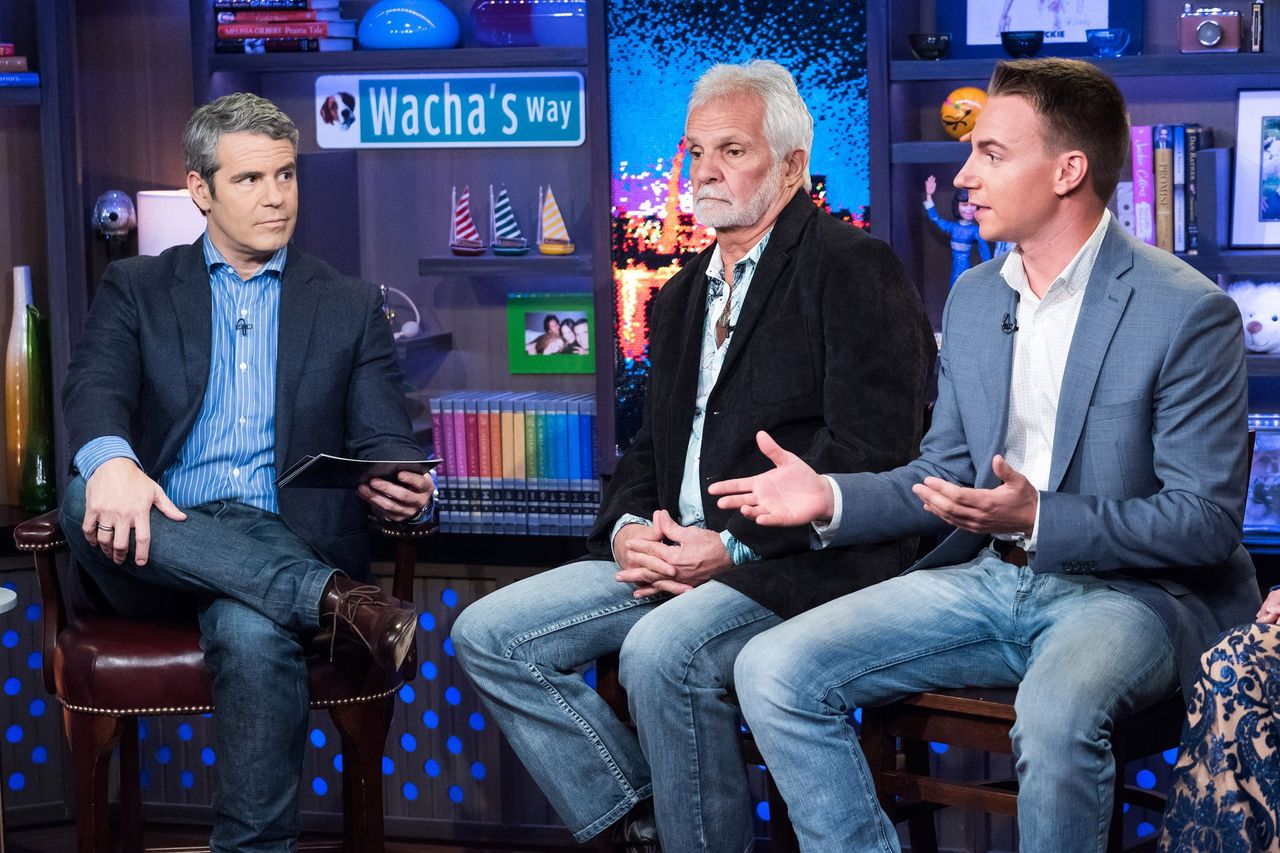 Andy Cohen, Captain Lee Rosbach and EJ Jansen on Watch What Happens Live With Andy Cohen | Photo: Getty Images
