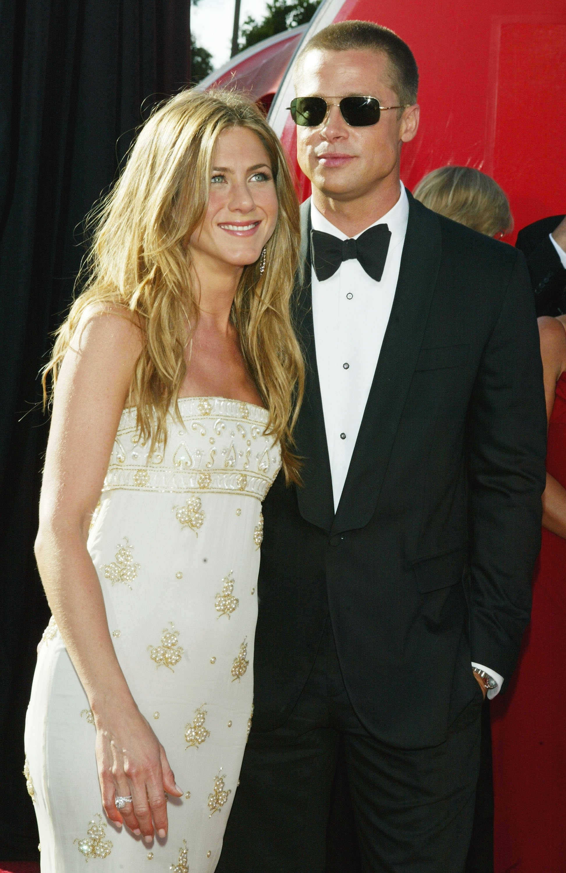 Jennifer Aniston and Brad Pitt attend the 56th Annual Primetime Emmy Awards at the Shrine Auditorium September 19, 2004. | Source: Getty Images