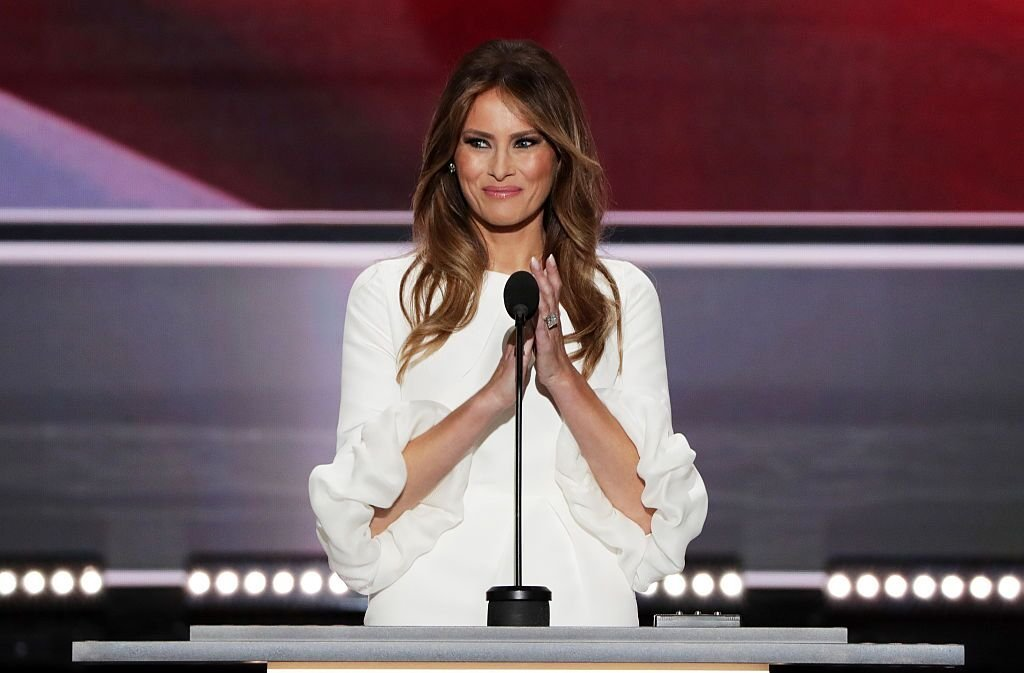 Melania Trump delivers a speech on the first day of the Republican National Convention on July 18, 2016 at the Quicken Loans Arena in Cleveland, Ohio | Photo: Getty Images