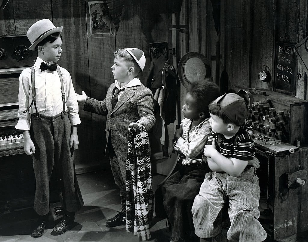"""Carl Switzer as Alfalfa, George McFarland as Spanky, Billie Thomas as Buckwheat and Eugene Lee as Porky in """"Framing Youth,"""" circa September 11, 1937. 