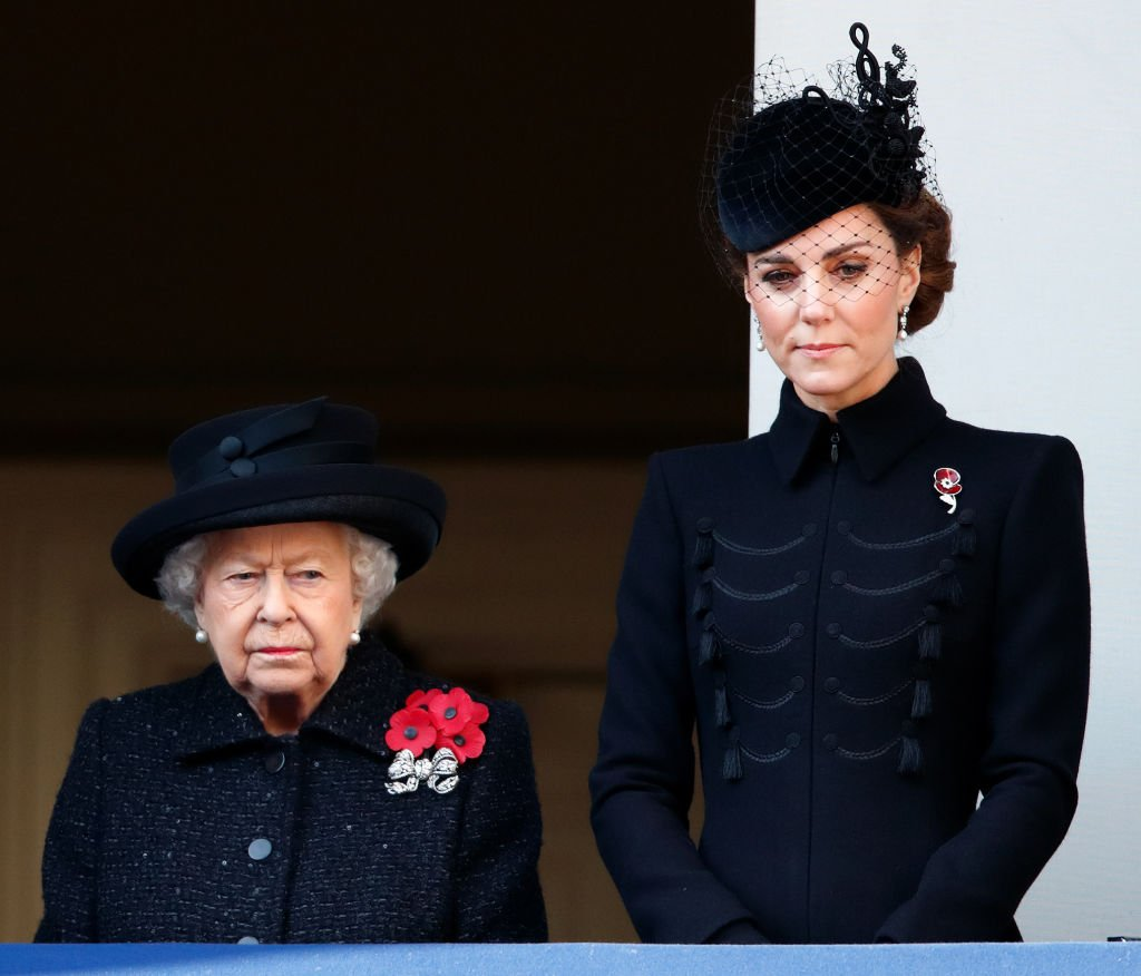 Queen Elizabeth II and Catherine, Duchess of Cambridge attend the annual Remembrance Sunday service at The Cenotaph. | Photo: Getty Images