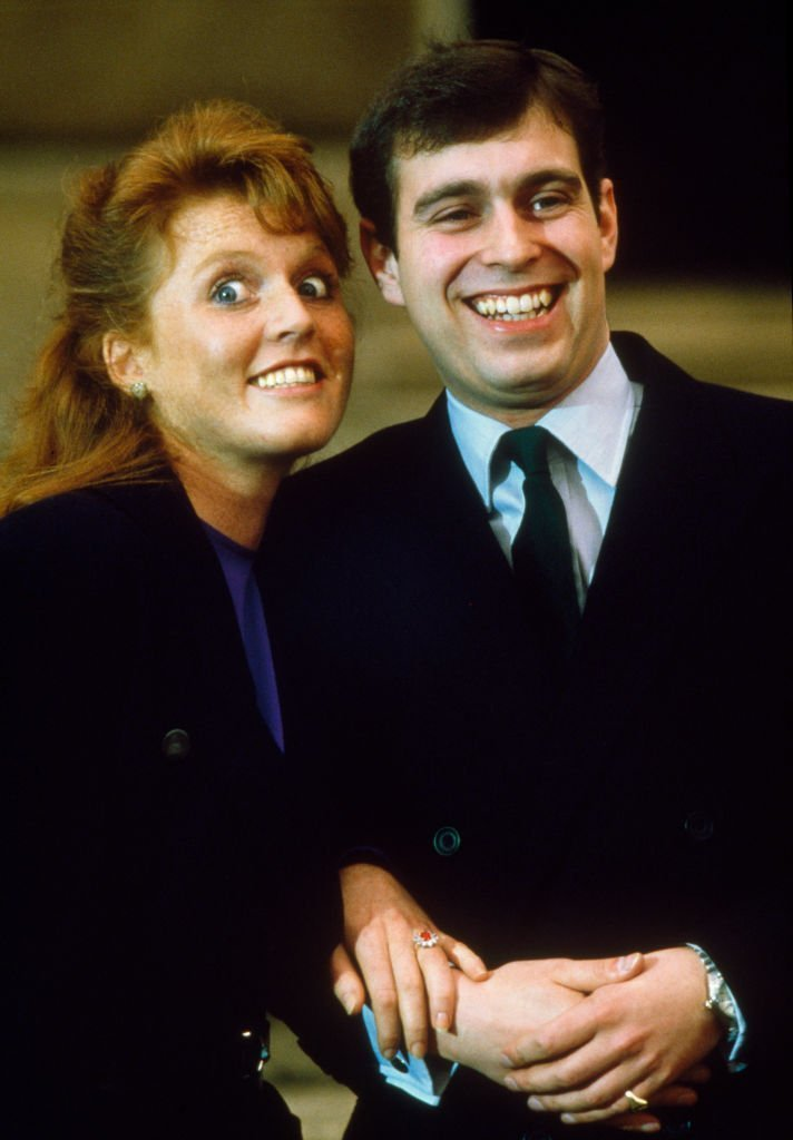 Prince Andrew, the Duke of York and Sarah Ferguson photographed at Buckingham Palace after the announcment of their engagement, London, 17th March 1986. | Source: Getty Images.