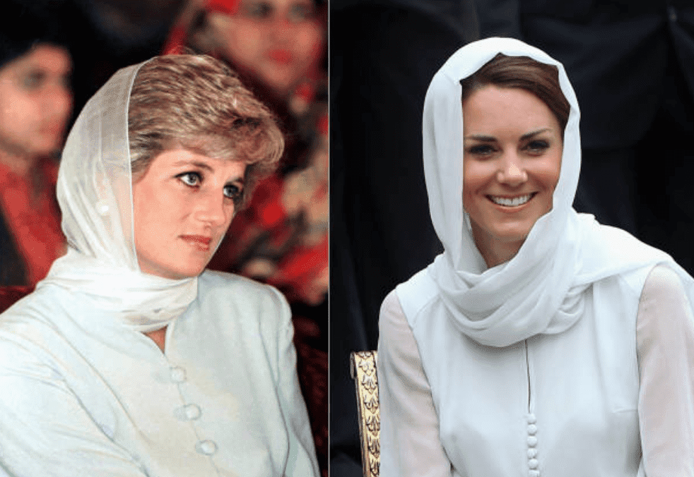 A comparison of Princess Diana (Pakistan, on June 22, 1996 ) and Kate Middleton wearing a headscarf (Kuala Lumpur, on September 12, 2012)  | Source: Tim Graham/Chris Jackson/Getty Images