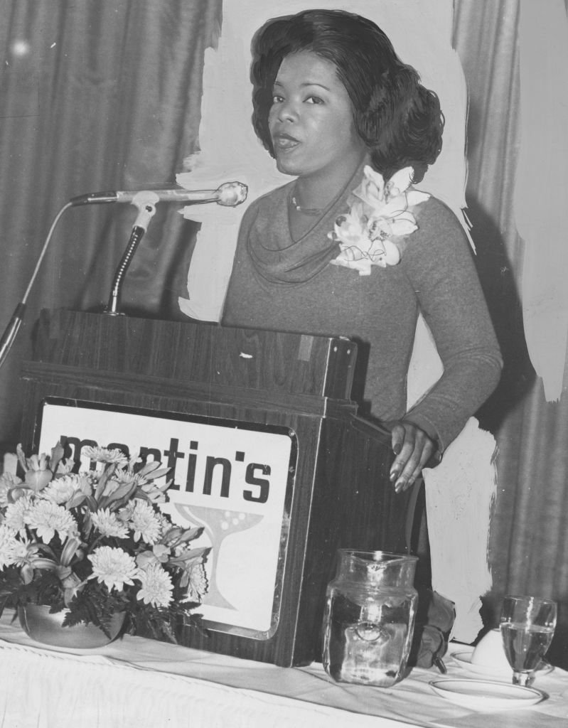 Oprah Winfrey speaks at a podium early in her career, during her time at WJZ, Baltimore, Maryland, January 20, 1978.   Source: Getty Images