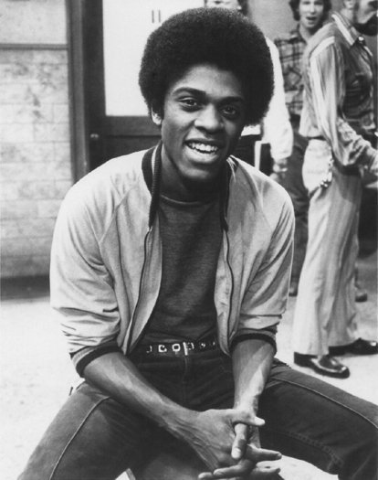 "Lawrence Hilton-Jacobs promoting his role on the ABC television series ""Welcome Back, Kotter."" 