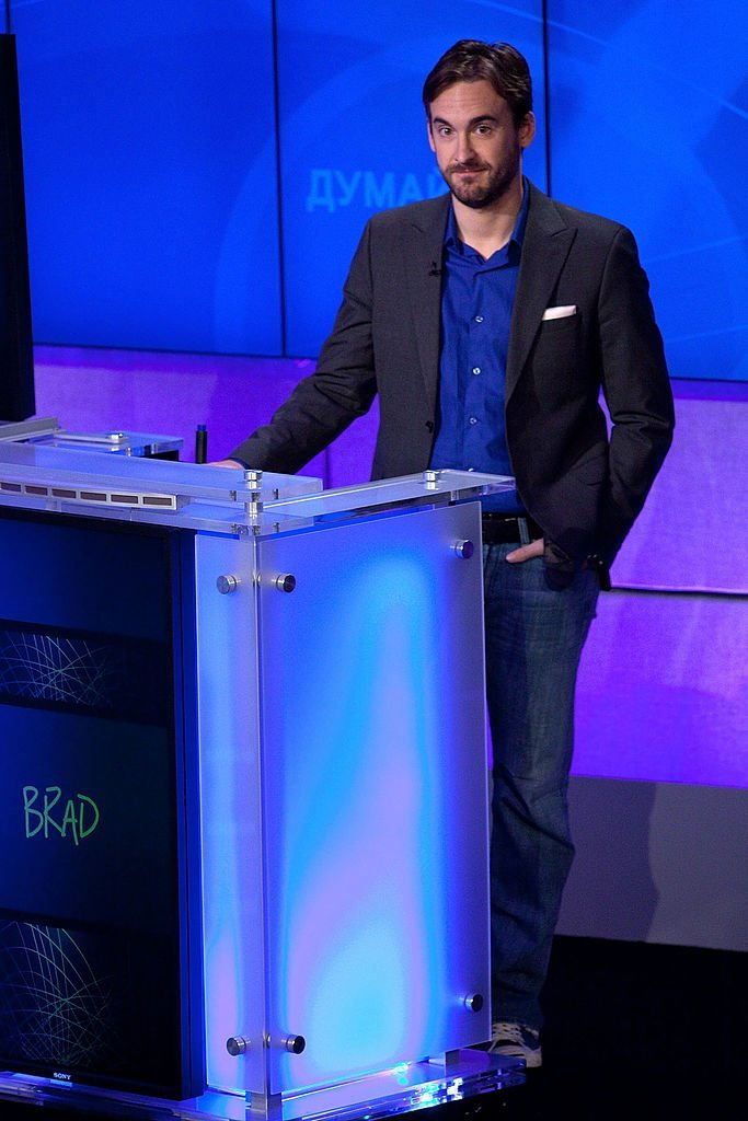 "Brad Rutter attends a press conference to discuss the upcoming Man V. Machine ""Jeopardy!"" competition 