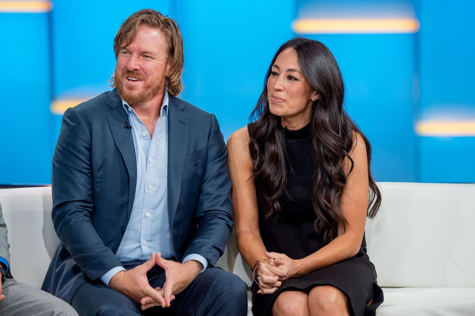 """Chip and Joanna Gaines speaking at the ending of the """"Fixer Upper""""with the Build Series at Build Studio on October 18, 2017, in New York City 