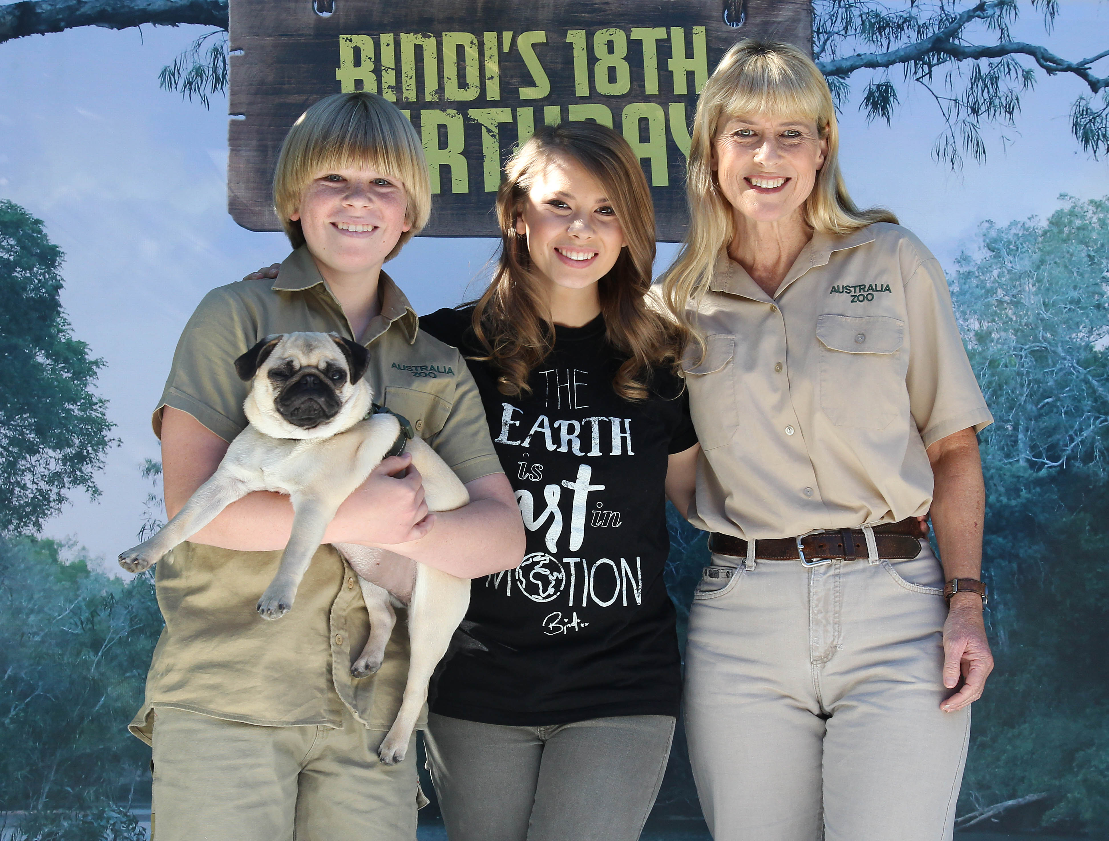 Bindi Irwin pictured at Australia Zoo for her 18th Birthday celebrations along with her mother Terri Irwin, brother Robert  July 24, 2016| Photo: Getty Images