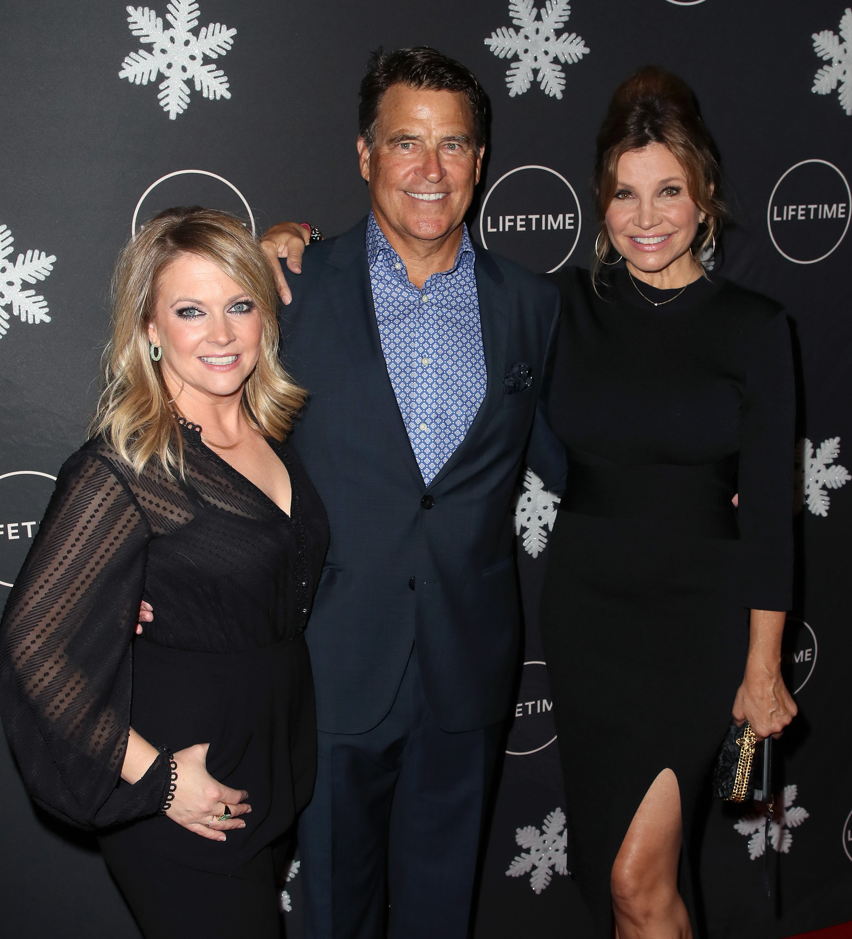 "Melissa Joan Hart, Ted McGinley and Gigi Rice at ""It's A Wonderful Lifetime"" Holiday Party on October 22, 2019. 