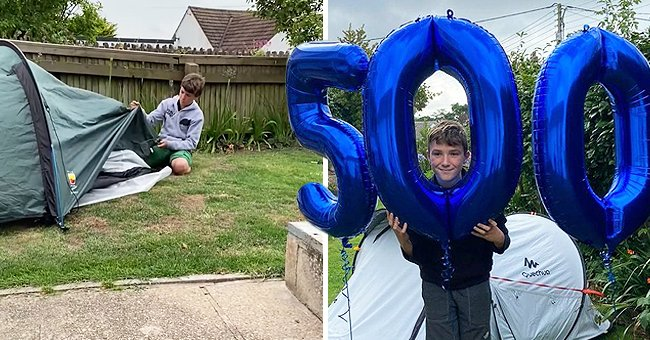 11-year-old Max Woosey with his tent (left) and holding up balloons (right) │ Source: BBC News