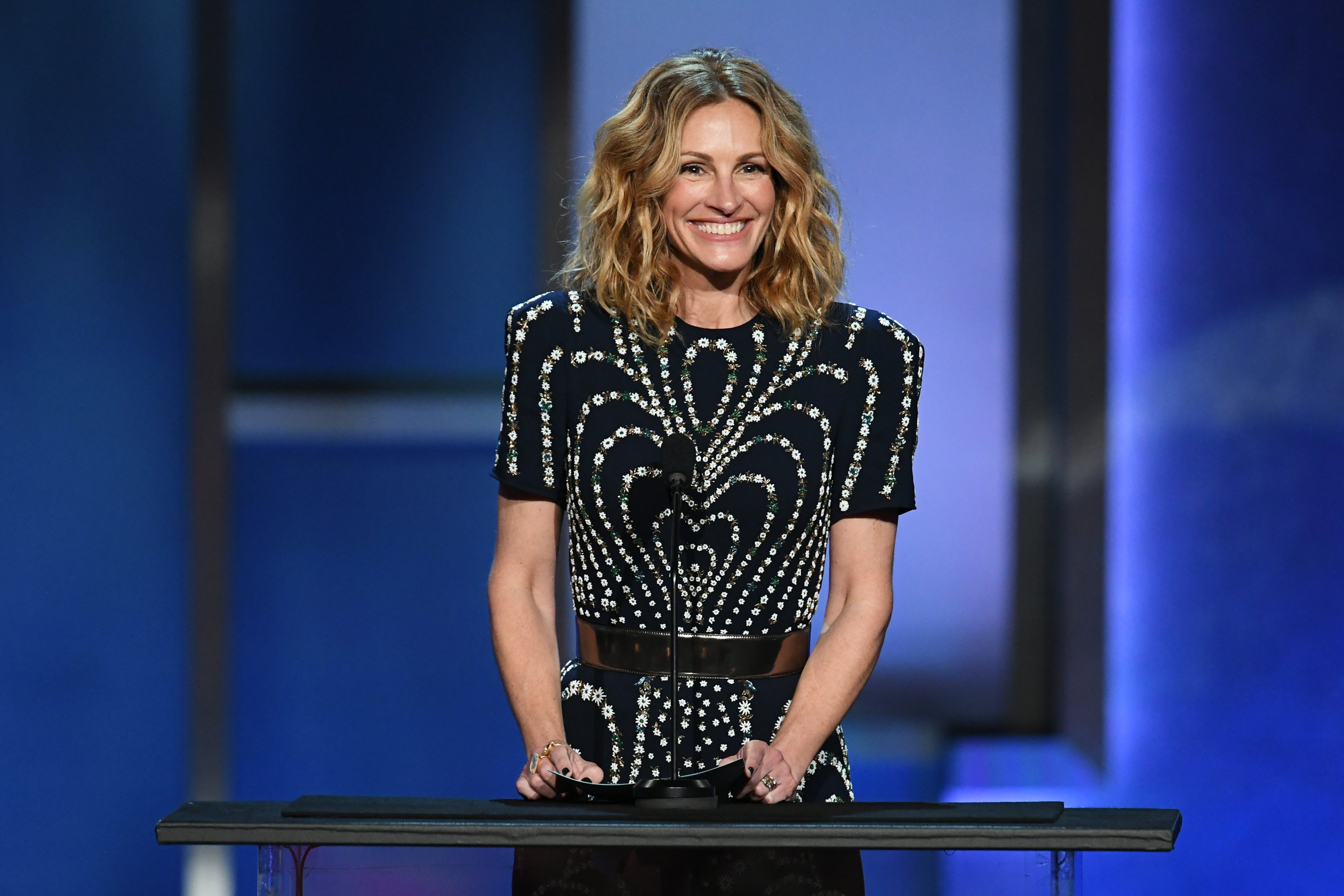 Julia Roberts speaks onstage during the 47th AFI Life Achievement Award honoring Denzel Washington at Dolby Theatre on June 06, 2019, in Hollywood, California.   Source: Getty Images.