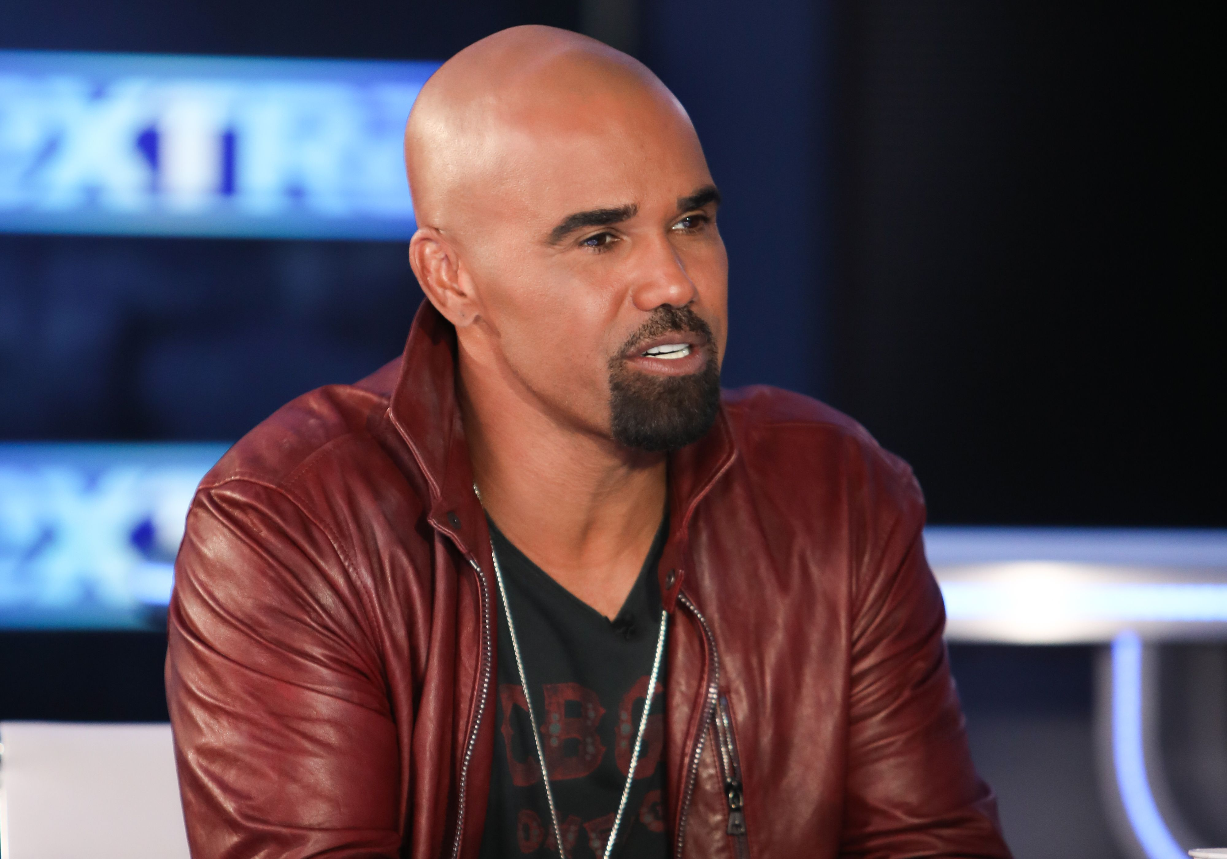 """Shemar Moore talks on """"Extra"""" at Burbank Studios on October 02, 2019, in California. 