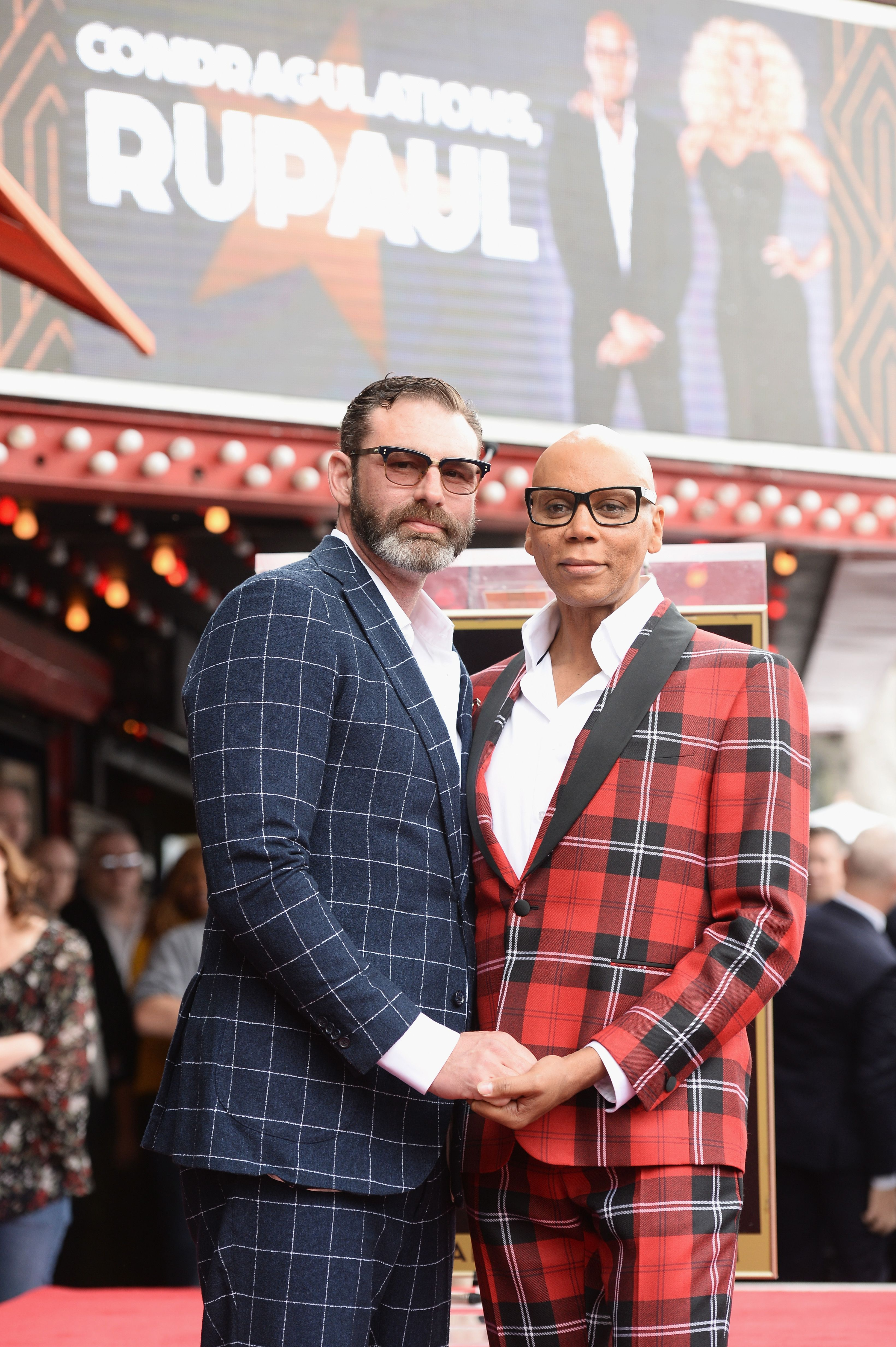 RuPaul (R) and his husband Georges LeBar attend RuPaul's star ceremony on The Hollywood Walk of Fame on March 16, 2018 in Hollywood, California. | Source: Getty Images
