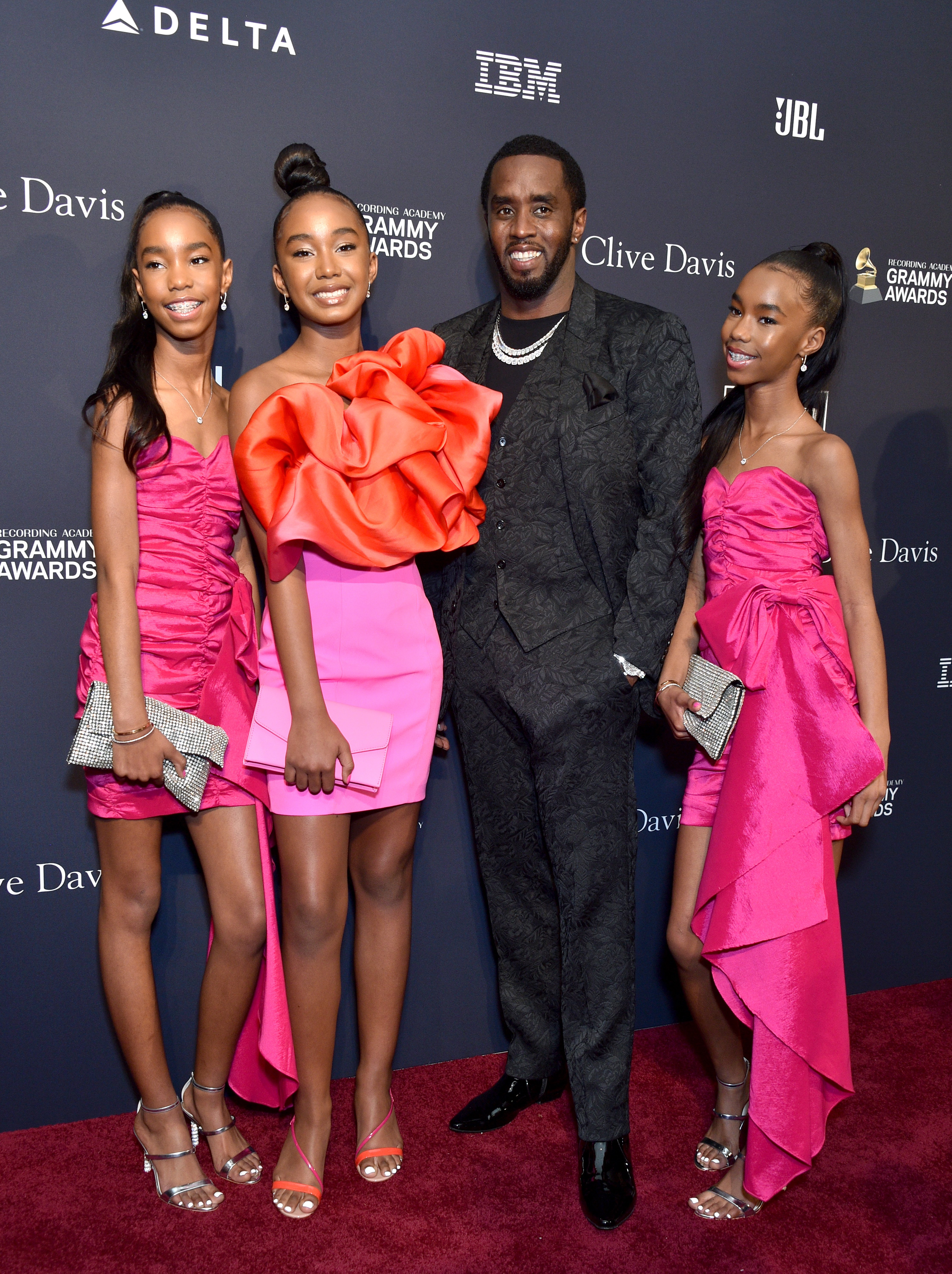 """Sean """"Diddy"""" Combs and his daughters at the Pre-Grammy Gala on January 25, 2020 in Beverly Hills, California. 