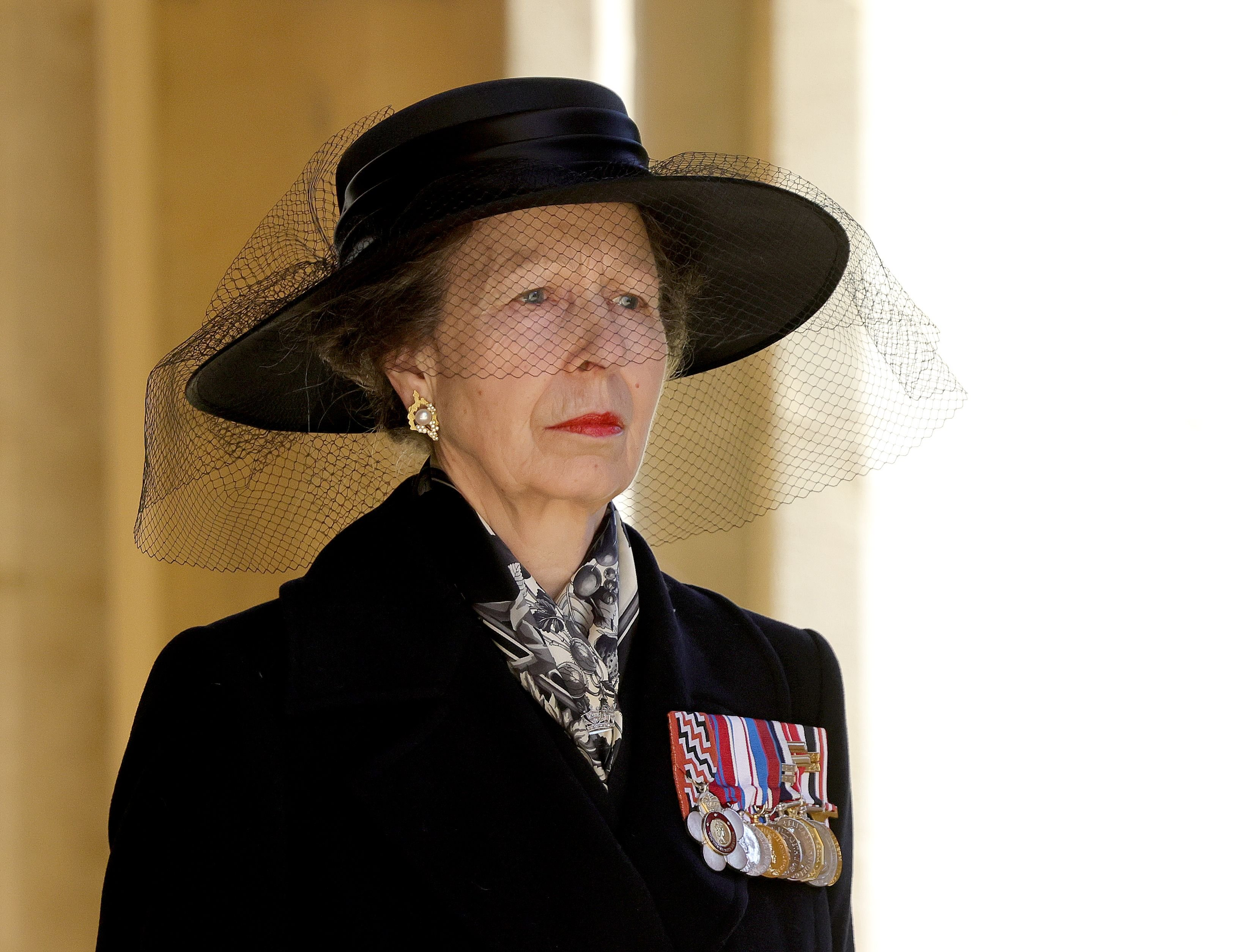 Princess Anne at the Ceremonial Procession during the funeral of Prince Philip at Windsor Castle on April 17, 2021 | Photo: Getty Images