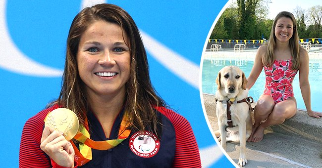 Paralympic athlete Becca Meyers posing with one of her gold medals and with her guide dog Birdie | Photo: Getty Images + Instagram.com/beccameyers20