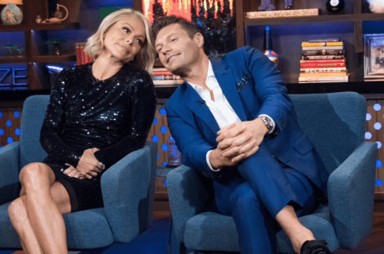 "Kelly Ripa and Ryan Seacrest on an episode of Andy Cohen's, ""Watch What Happens Live,"" on September 17, 2017 
