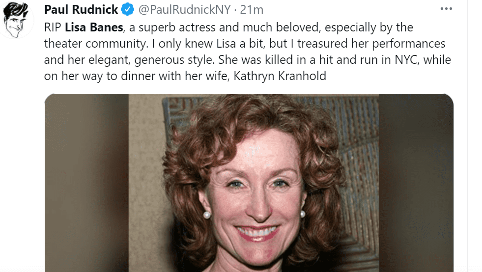 Pictured - Paul Rudnick pays homage to the late Lisa Banes sharing an image of her in a black sleeveless outfit with pearl earrings   Source: Twitter/@PaulRudnickNY