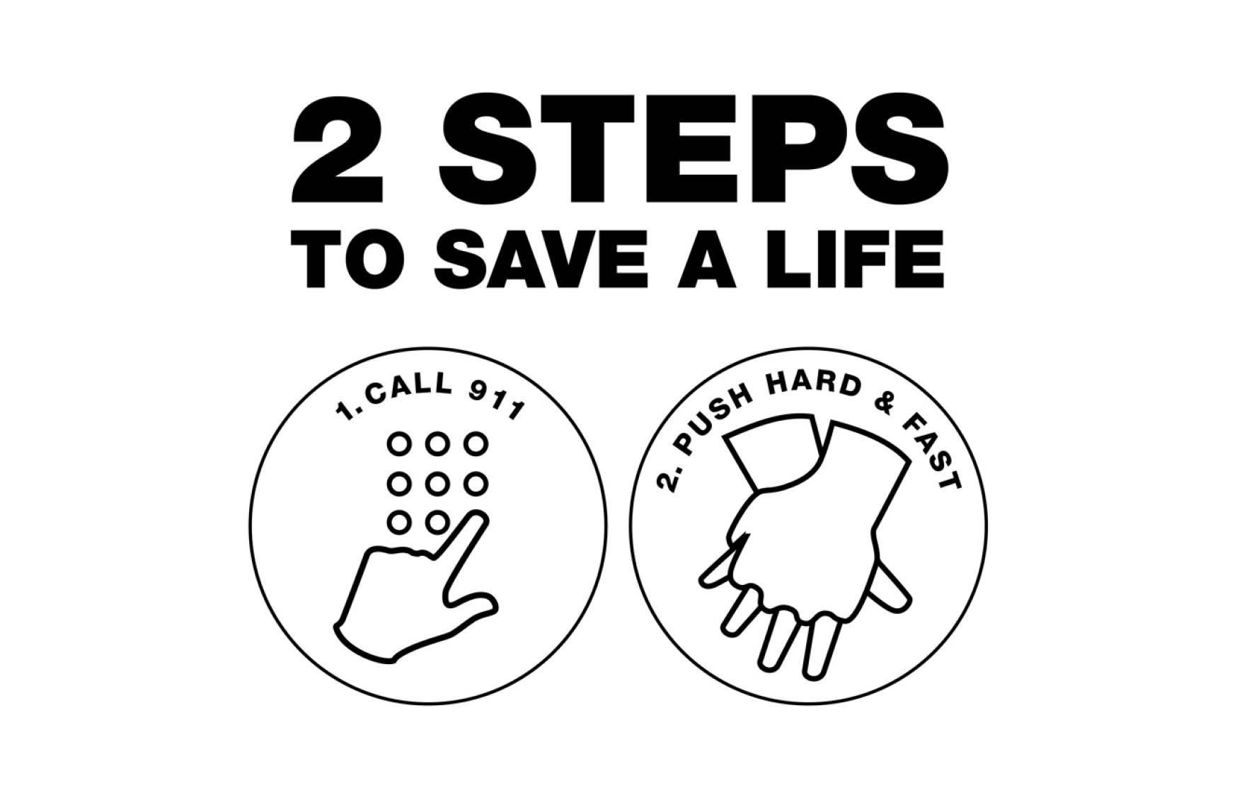 Two important steps to save the life of a person suffering from a heart attack. | Photo: cpr.heart.org
