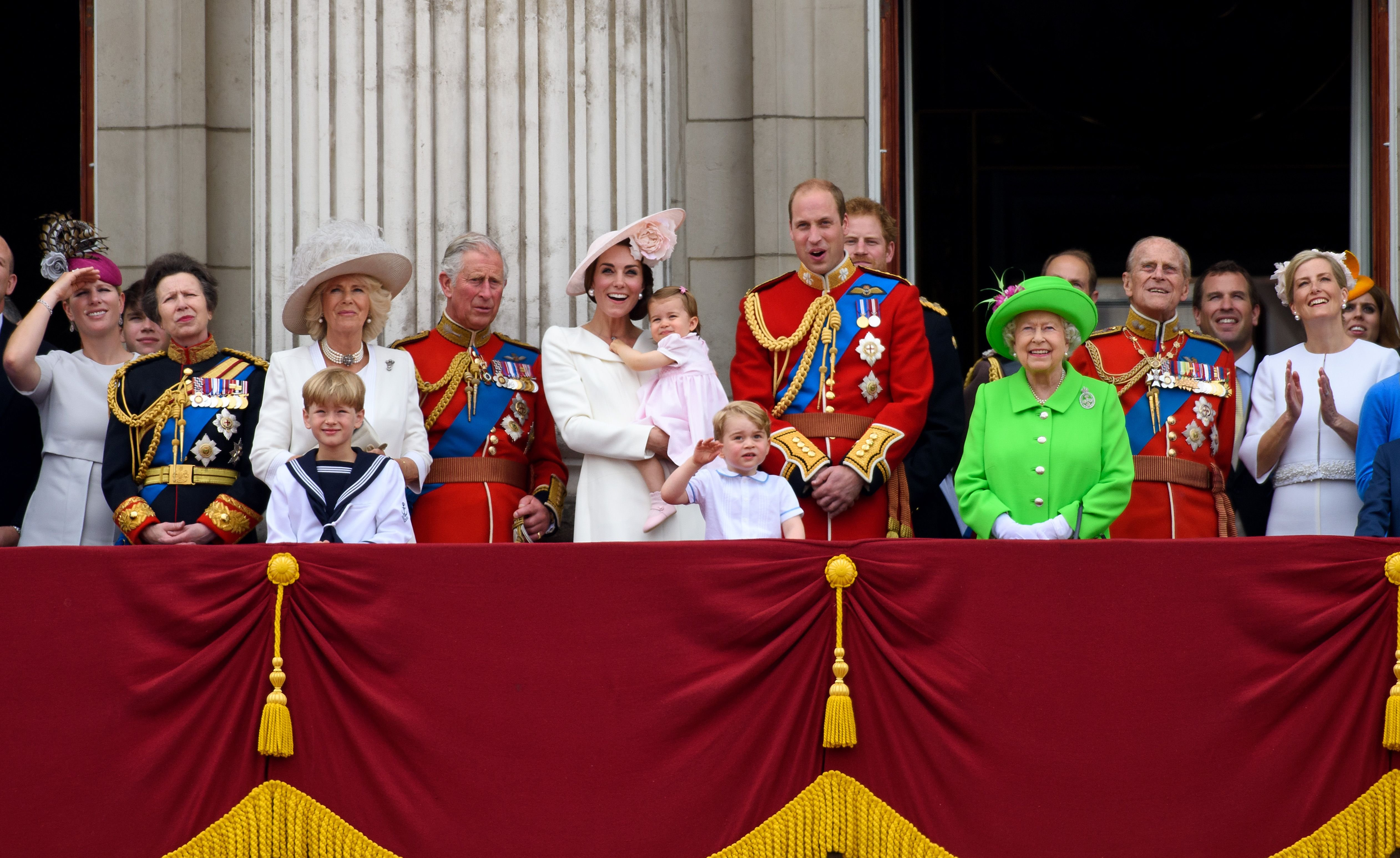 Some senior members of the royal family watch a plane fly past during the Trooping the Colour at The Mall on June 11, 2016 in London, England   Photo: Getty Images