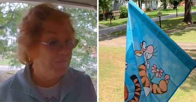 A picture of an elderly lady on the left and a picture of a Tigger flag on the right. │Source: tiktok.com/tizzybizzy922