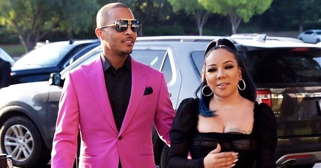 Tiny Stuns in Tight Belted Outfit as She Steps out with Husband T.I. Wearing Magenta Suit