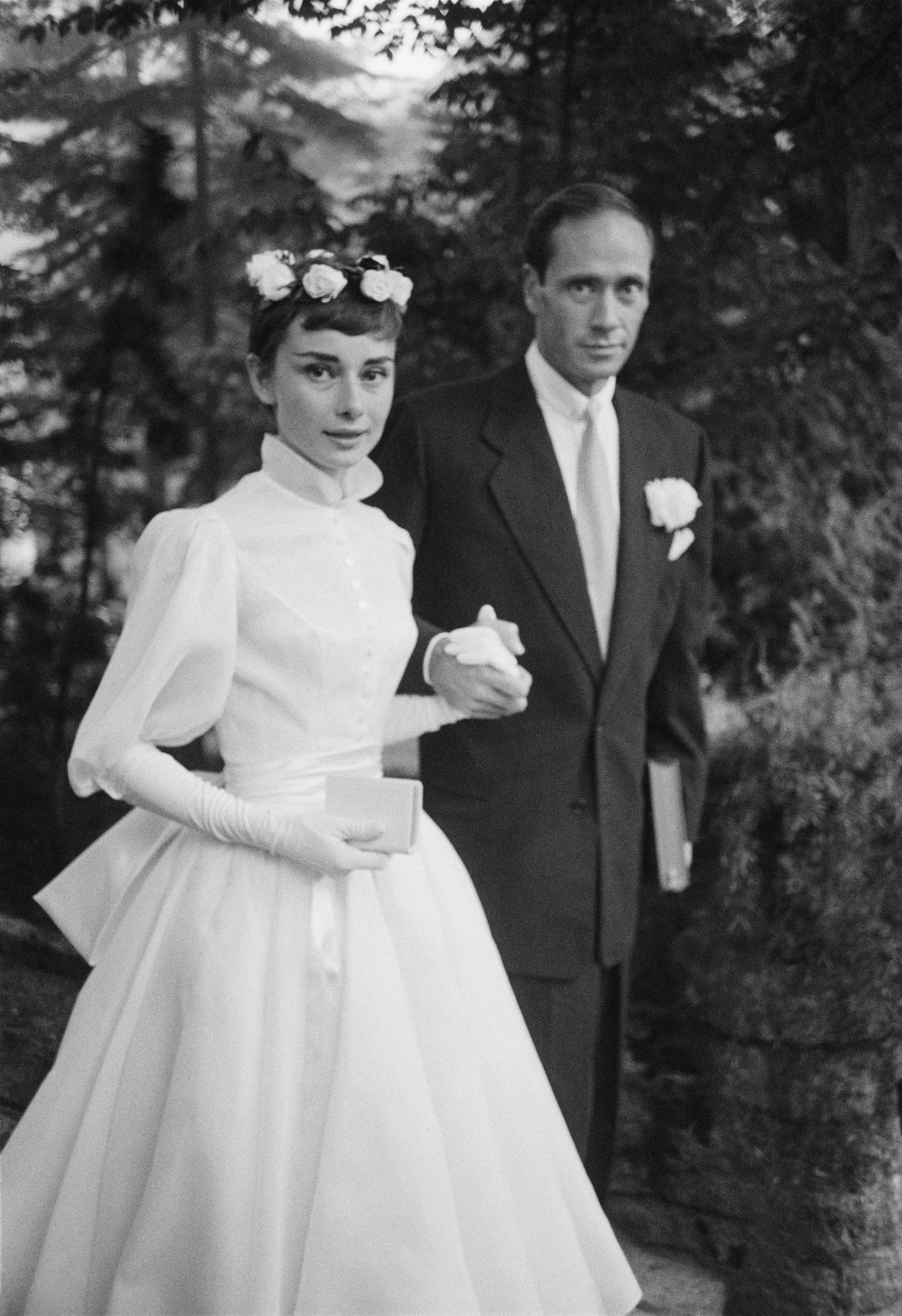 Audrey Hepburn and Mel Ferrer on their wedding day in 1954 | Getty Images