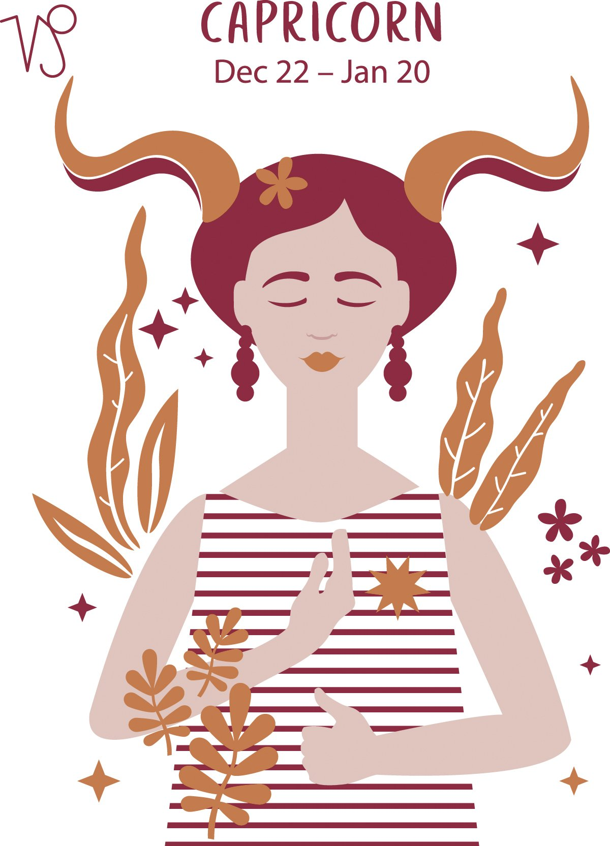 Capricorn (Dec 22 - Jan 20) represented by a woman with horns. | Photo: AmoMama
