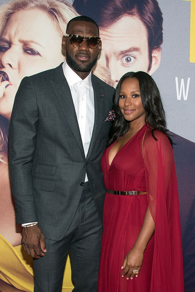 "LeBron James and wife Savannah Brinson at the New York Premiere of ""Trainwreck"" in July  2015. 