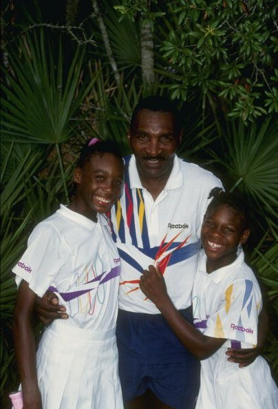 Serena Williams, Venus Williams and Richard Williams at a tennis camp in Florida, in 1992.   Photo: Getty Images