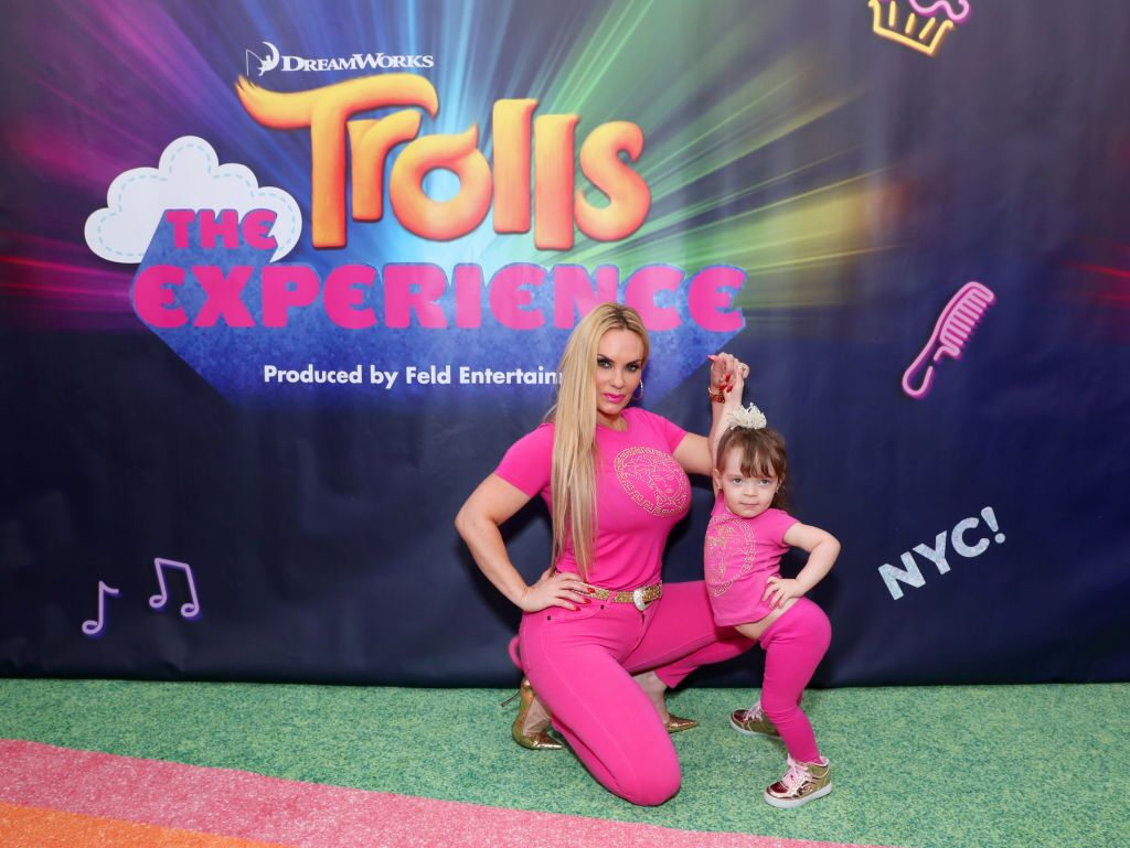 """Coco Austin and Chanel at the DreamWorks """"Trolls The Experience"""" Rainbow Carpet Grand Opening in 2018 in New York City 