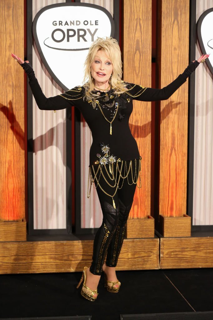Parton attends a press conference before a performance celebrating her 50-year anniversary with the Grand Ole Opry at The Grand Ole Opry  | Getty Images