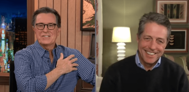 """Hugh Grant talks about his experience with the novel coronavirus with Stephen Colbert during a virtual appearance on """"The Late Show."""" 