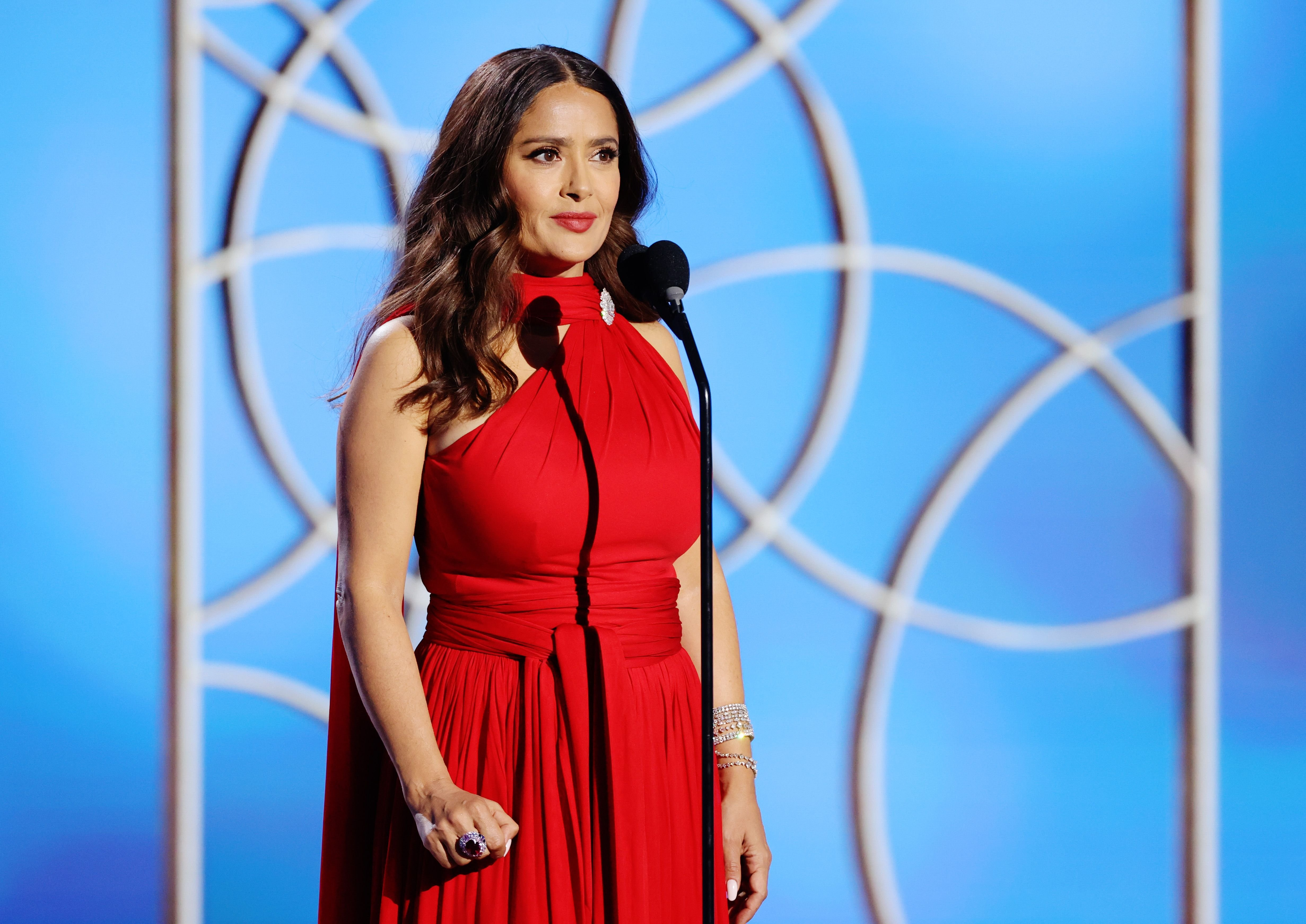 Salma Hayek at the 78th Annual Golden Globe Awards held at The Beverly Hilton and broadcast on February 28, 2021 | Photo: Getty Images