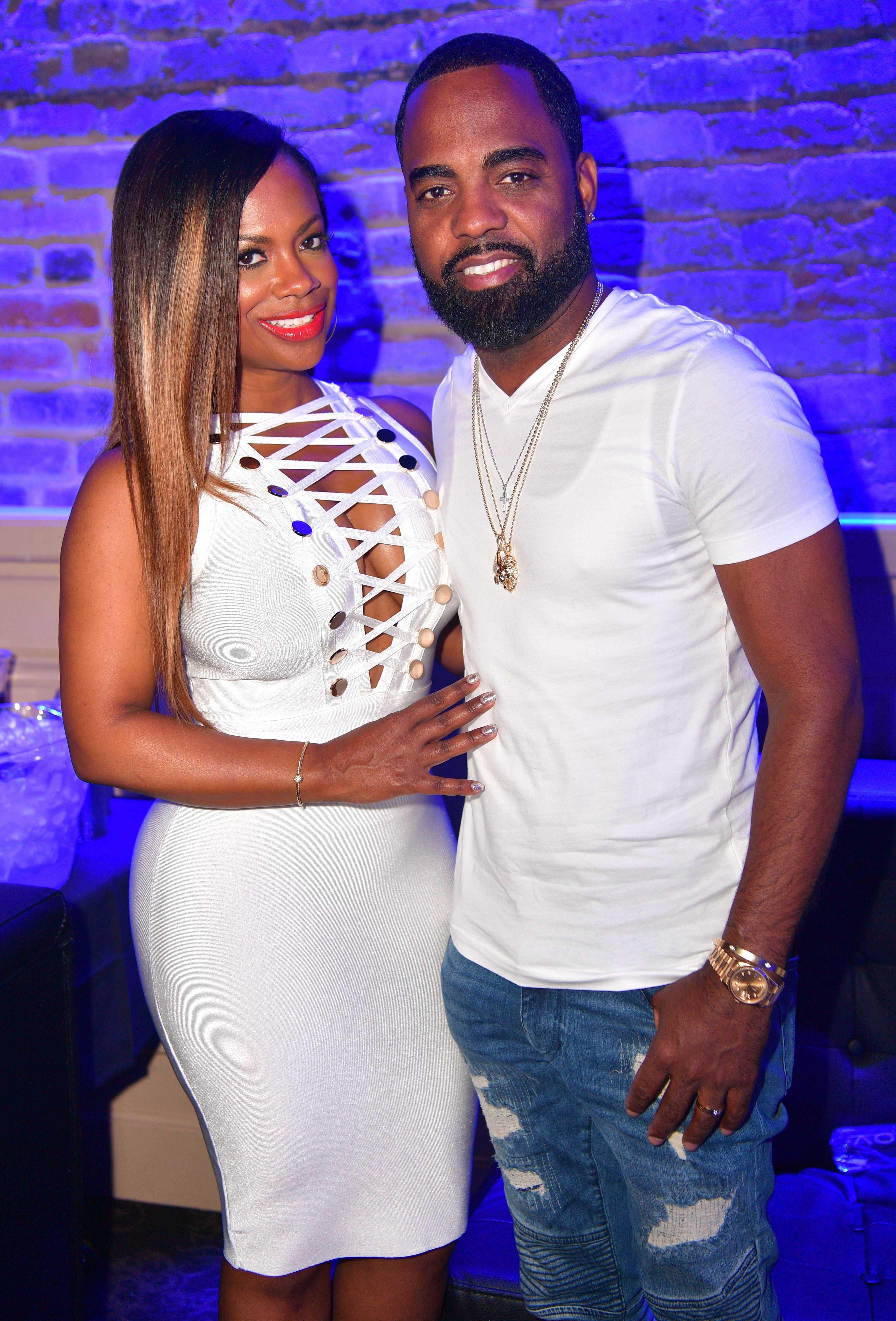 """Kandi Burruss and Todd Tucker at the """"All White Affair"""" at Metropolitan Nightclub on July 1, 2017 in New Orleans, Louisiana. 