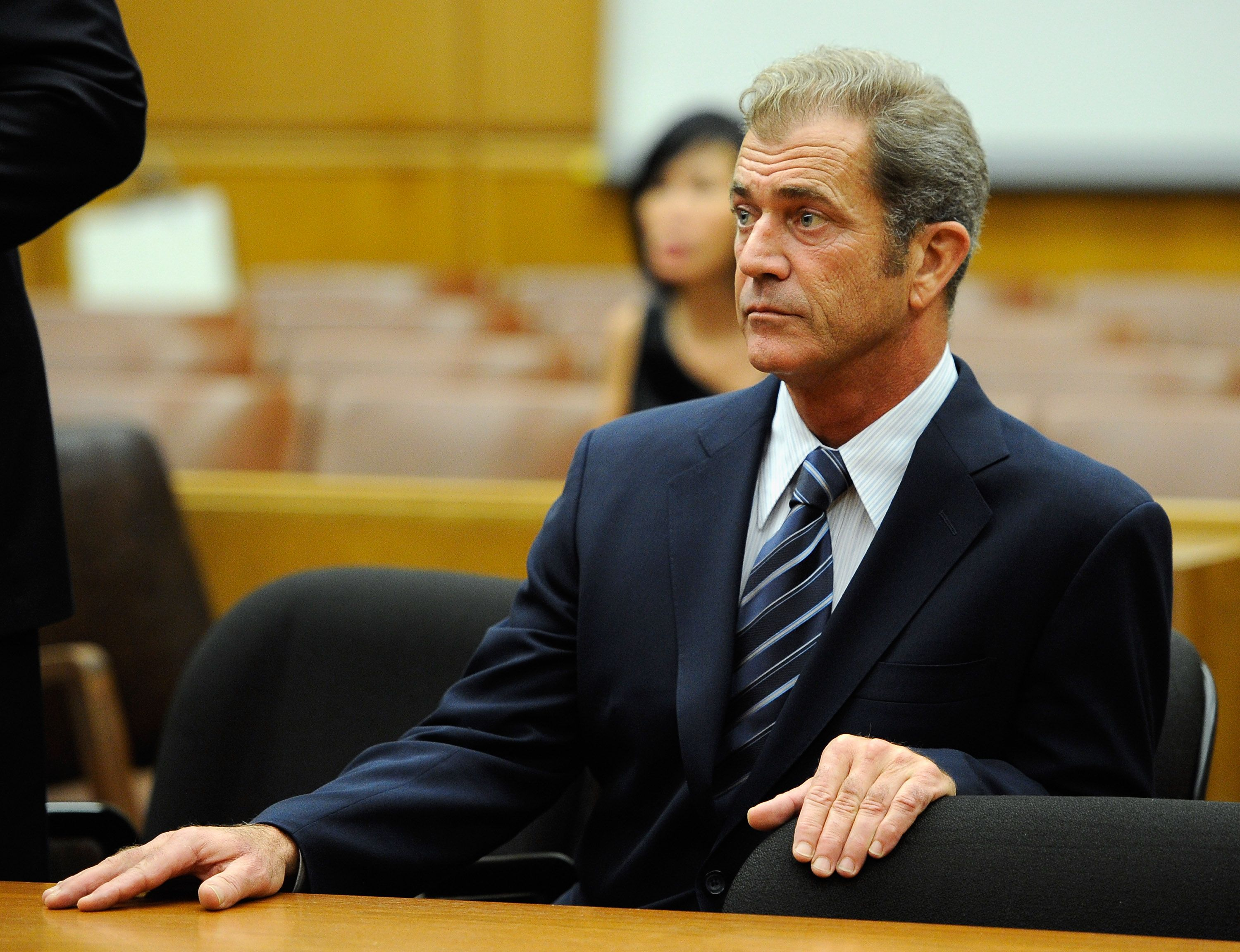 Mel Gibson at a hearing in a Los Angeles County Courthouse to finalize financial issues with Oksana Grigorieva in August 2011 | Source: Getty Images