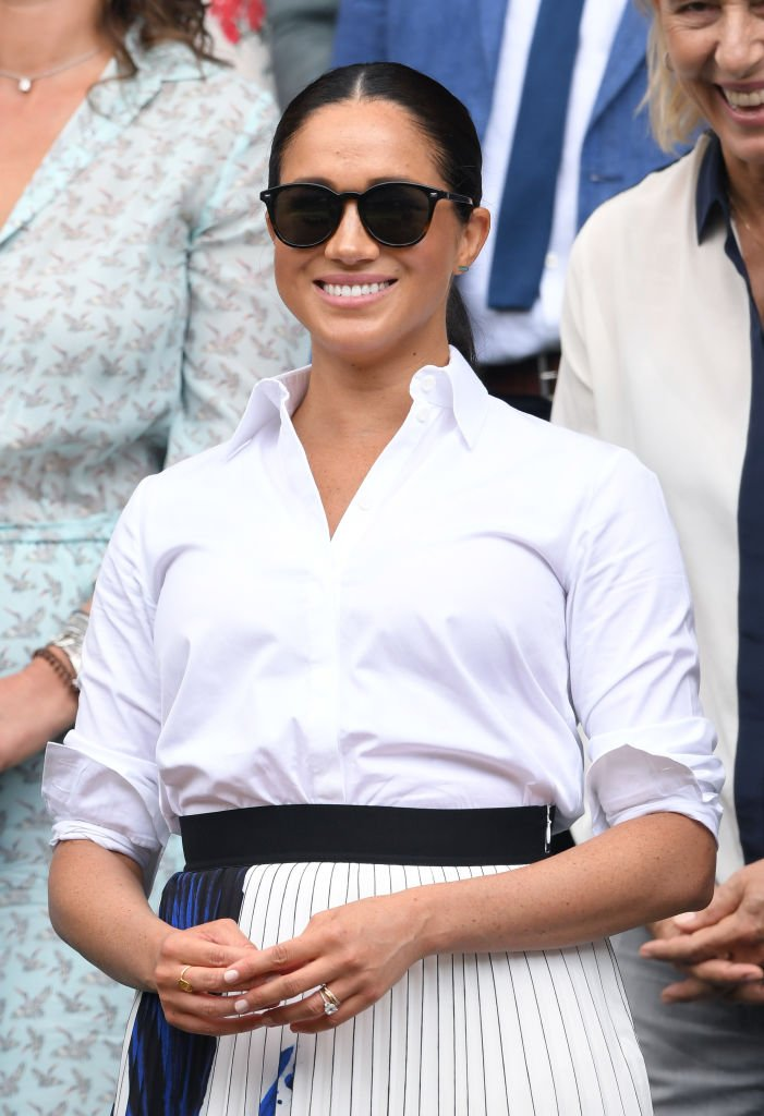 Meghan, Duchess of Sussex in the Royal Box on Centre Court during day twelve of the Wimbledon Tennis Championships at All England Lawn Tennis and Croquet Club | Photo: Getty Images