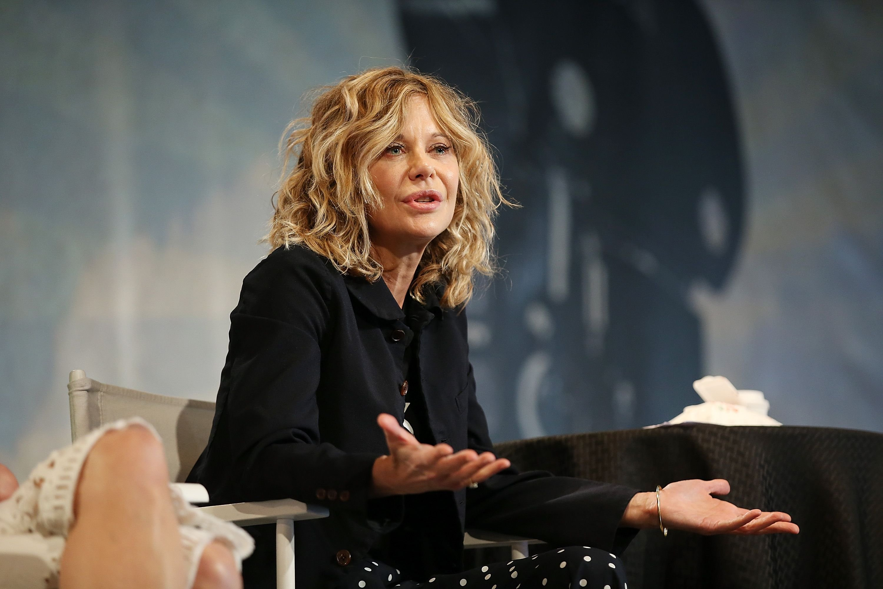 "Meg Ryan speaks onstage during the ""Geena & Freinds"" panel at the 4th Annual Bentonville Film Festival - Day 5 on May 5, 2018 in Bentonville, Arkansas. 