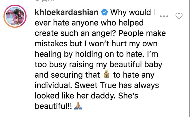 Screenshot of Khloe Kardashian's response. |Photo: Instagram/freakymarko2/https://www.instagram.com/p/Bz8SQ8cAUM0/comments