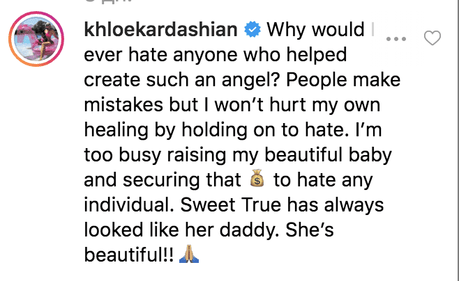 Screenshot of Khloe Kardashian's response. |Photo: Instagram/freakymarko2/https://www.instagram.com/p/Bz8SQ8cAUM0/comments