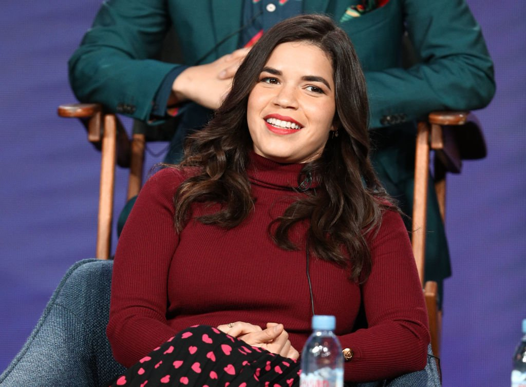 "America Ferrera speaks on the ""Superstore"" panel during the NBCUniversal portion of the Television Critics Association Winter Press Tour at The Langham Huntington on January 29, 2019 in Pasadena, California. 