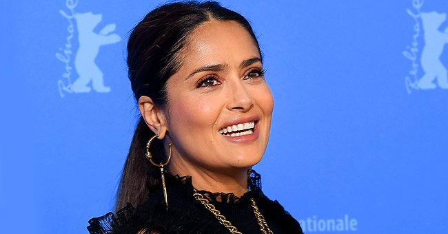 Salma Hayek Looks Flawless Wearing a Beige Dress With Rich Embroidered Belt in Throwback Photo
