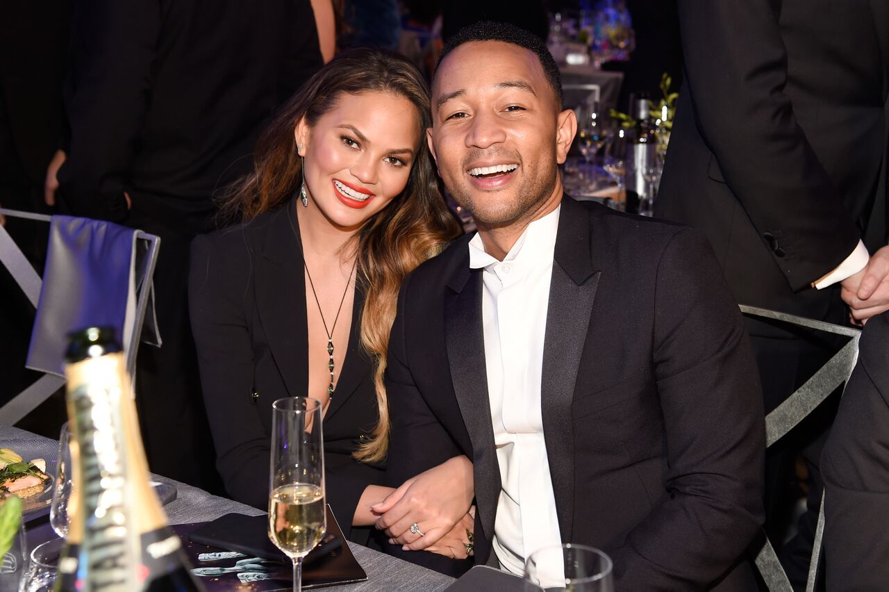 Chrissy Teigen (L) and artist John Legend during The 23rd Annual Screen Actors Guild Awards. | Source: Getty Images