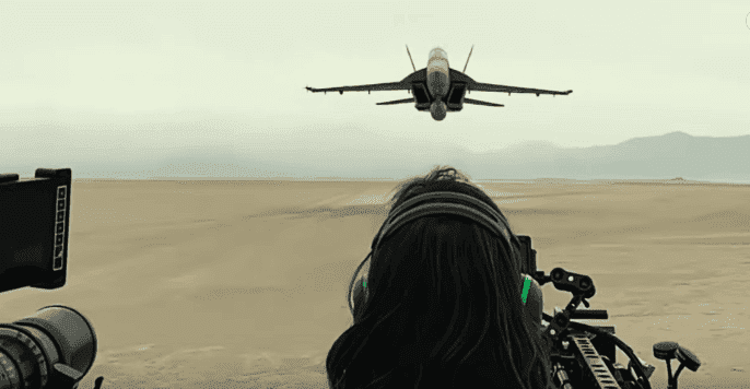"""The camera crew on """"Top Gun: Maverick"""" filming close up scenes of fighter jets for the upcoming film. 