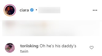 A fan's comment on Ciara's picture of her son Win, cheering his daddy on. | Photo: Instagram/Ciara