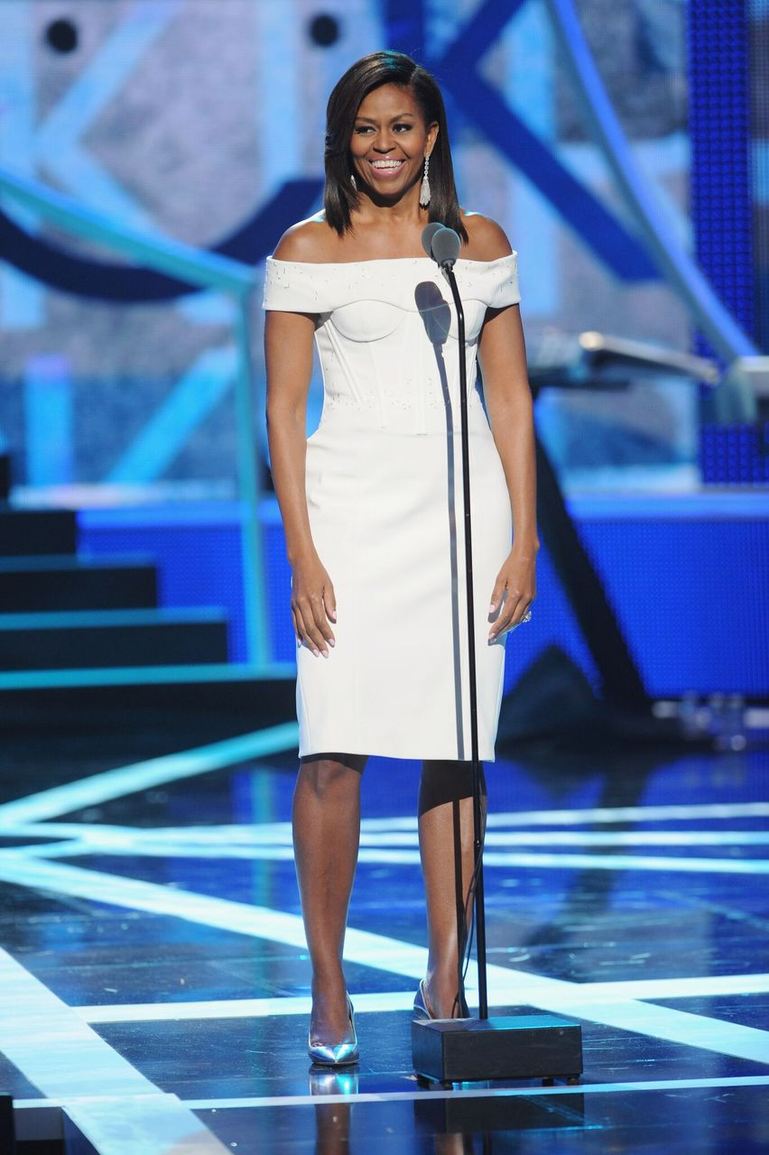 """Michelle Obama speaks onstage during the """"Black Girls Rock!"""" BET Special.   Source: Getty Images"""