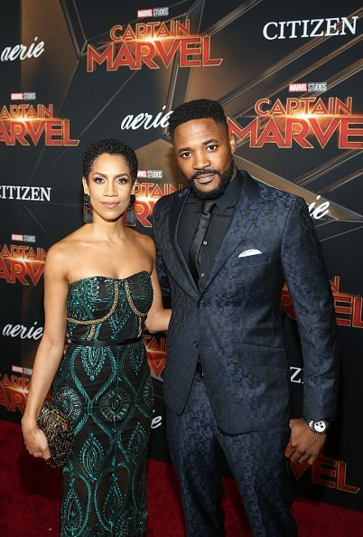 """Singer Dominique Tipper and actor Duane Henry at the Los Angeles World Premiere of Marvel Studios' """"Captain Marvel"""" on March 4, 2019 