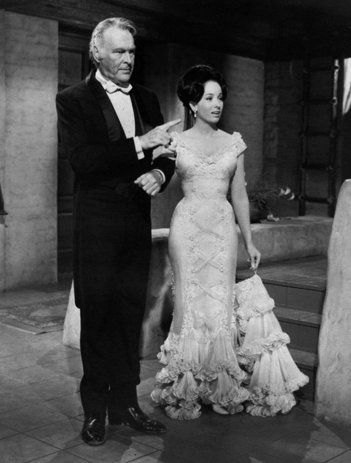 """Leif Erickson and Linda Cristal from the television program """"The High Chaparral,"""" circa 1970. 