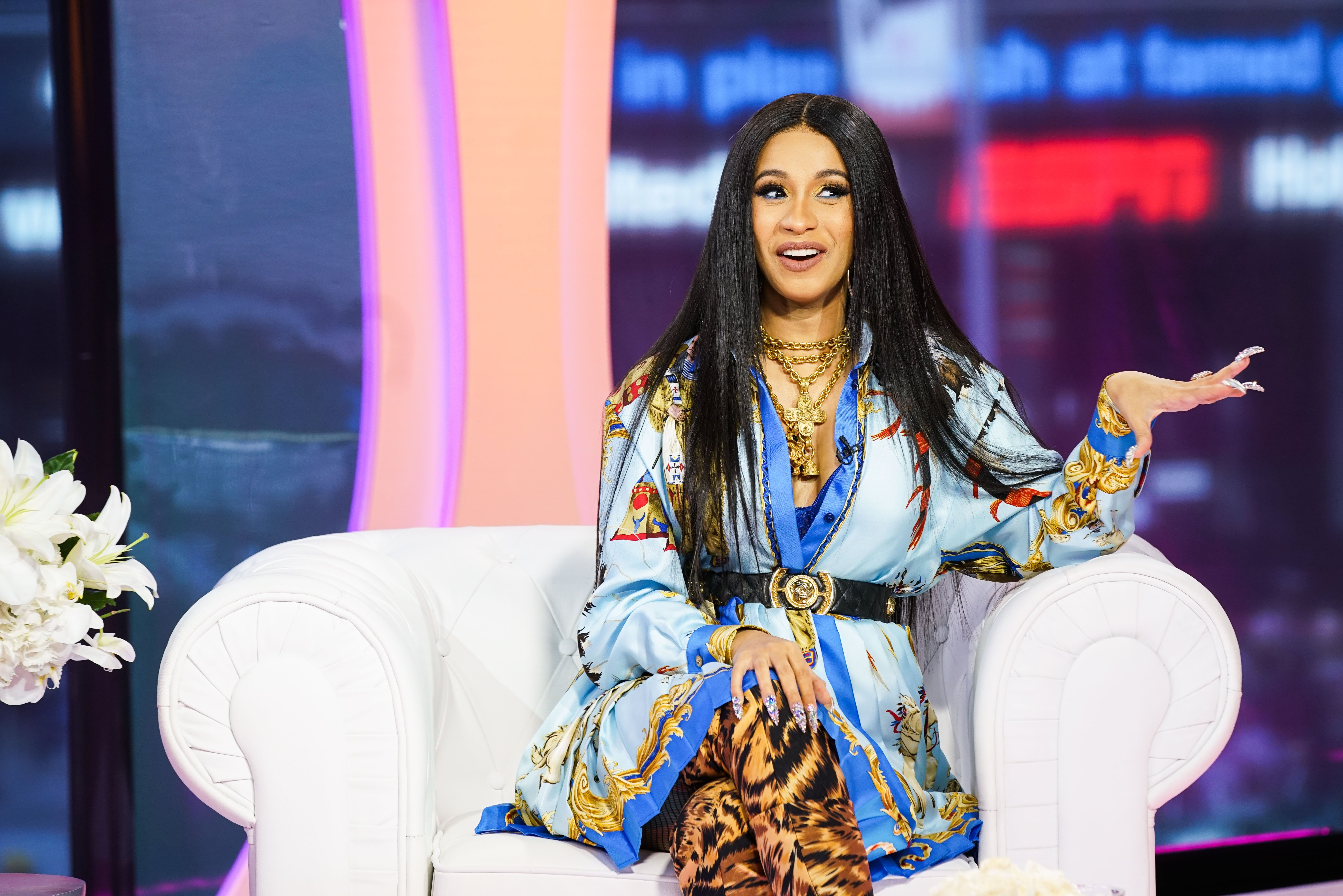 """Cardi B at """"TRL: Party with Cardi"""" on MTV on April 11, 2018. 